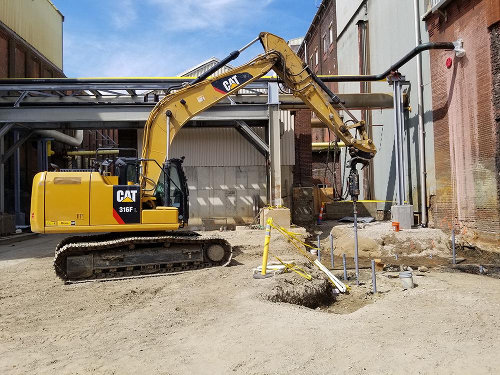 dozer installing piling